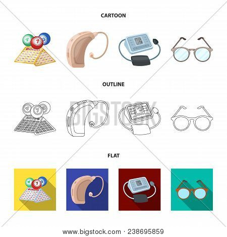 Lottery, Hearing Aid, Tonometer, Glasses.old Age Set Collection Icons In Cartoon, Outline, Flat Styl