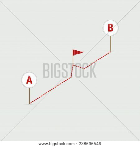 Gps Navigator Pin Checking Point A To Point B. Route From Point A To Point B. Dotted Line From A To