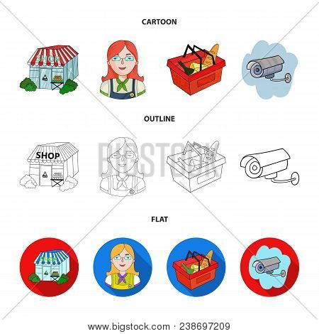 Salesman, Woman, Basket, Plastic .supermarket Set Collection Icons In Cartoon, Outline, Flat Style V