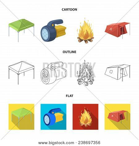 Awning, Fire And Other Tourist Equipment.tent Set Collection Icons In Cartoon, Outline, Flat Style V
