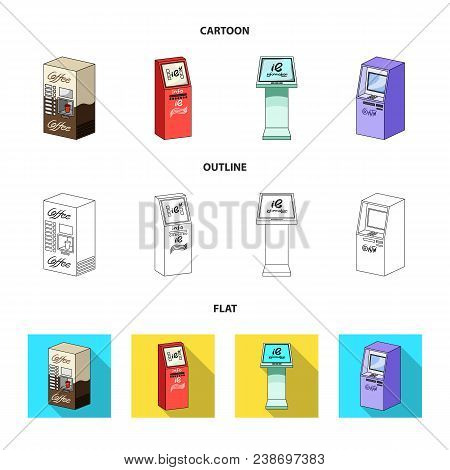 Coffee Machine, Atm, Information Terminal. Terminals Set Collection Icons In Cartoon, Outline, Flat