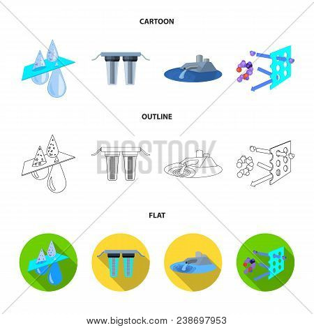 Filter, Filtration, Nature, Eco, Bio .water Filtration System Set Collection Icons In Cartoon, Outli
