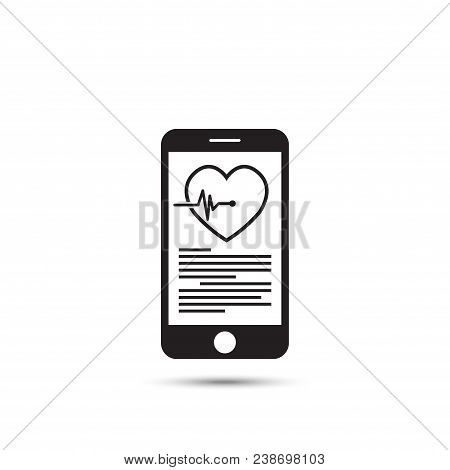 Mhealth Concept With Smartphone And Red Heart, Vector Silhouette.