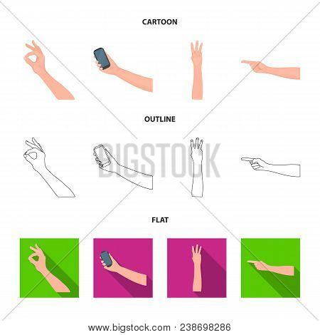 Sign Language Cartoon, Outline, Flat Icons In Set Collection For Design.emotional Part Of Communicat