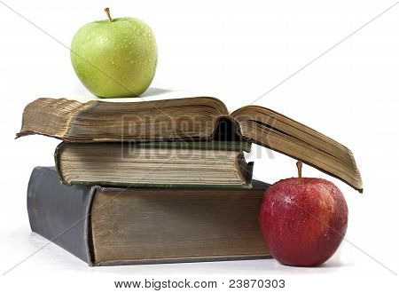 Old books and apples