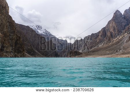 Attabad Lake And Mountain Valley In Cloudy Day In Pakistan