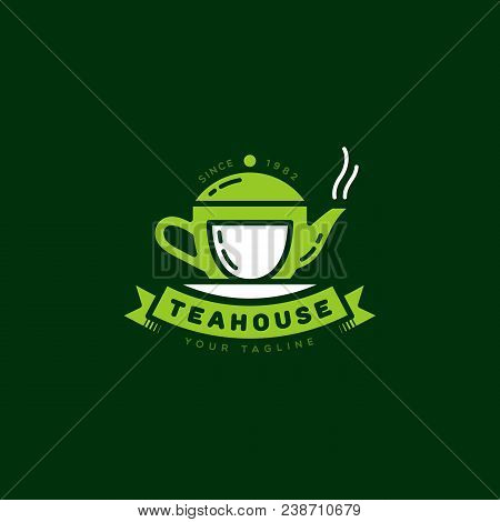 Teahouse Logo, Label Template Design. Vector Illustration.