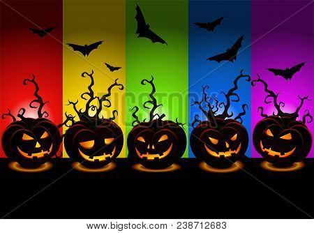 Illustration Of Scary Halloween Wallpaper With Various Carved Pumpkins With Hideous Bat Theme Backgr