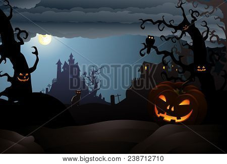 Illustration Of Scary Halloween  Of A Haunted House With Hideous Bat Theme Background
