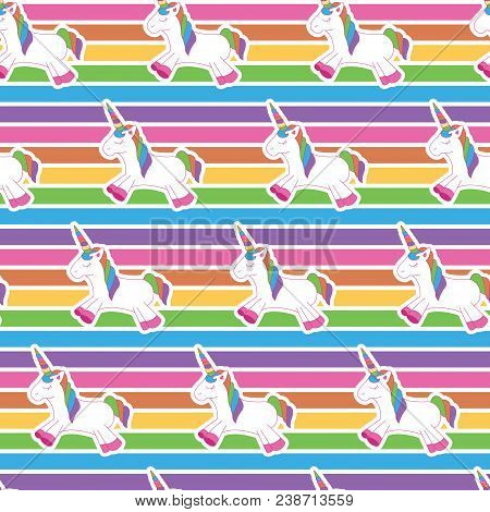 Unicorn Pattern In Rainbow Background. A Playful, Modern, And Flexible Pattern For Brand Who Has Cut