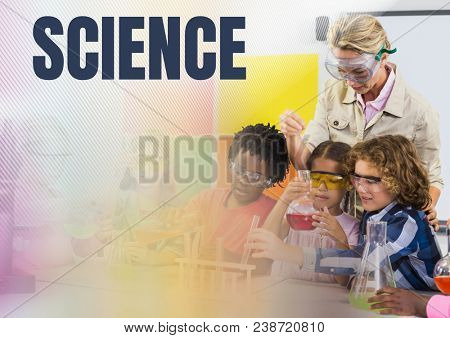 Science text and Science school teacher with class
