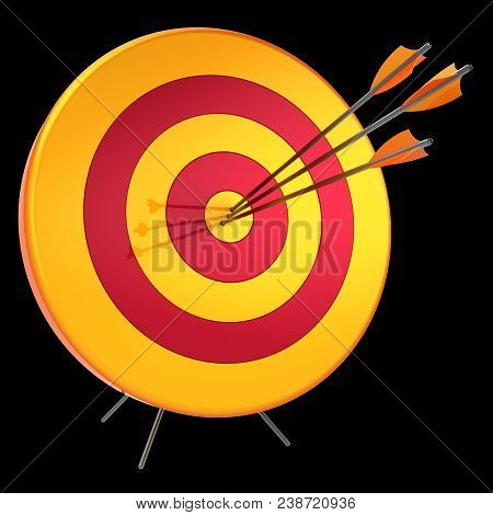 3D Illustration Of Target Arrows Success Shooting Accuracy Hitting