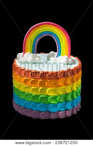 Birthday Rainbow Cake On A Black Background