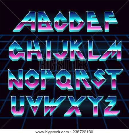 80 S Retro Alphabet Font. Vector Typography For Flyers, Headlines, Posters. Effect Shiny Letters. 80