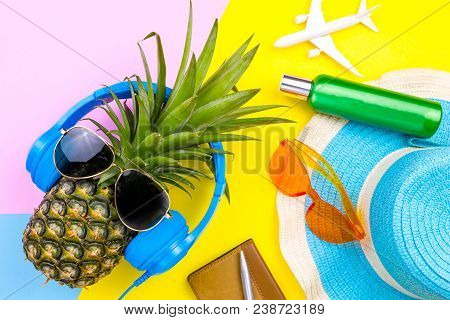Fashion Pineapple. Bright Summer Color. Beach Clothes Accessories Outfit. Creative Art. Tropical Fru