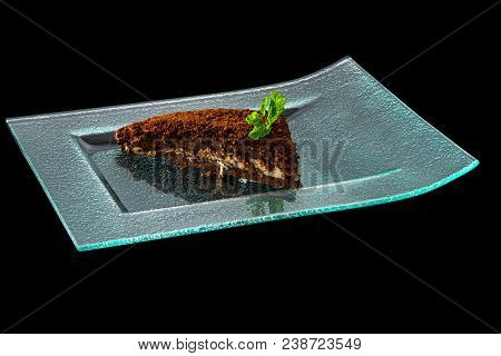 Close Up Of Tasty Cake, Isolated On A Black Background