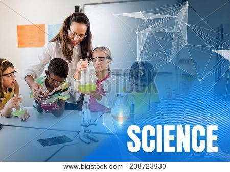 Science text and Science teacher with class