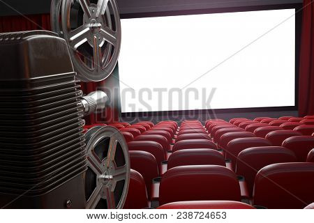 Movie projector and blank cinema screen with empty seats. Cinema, movie or home video concept background. 3d illustration