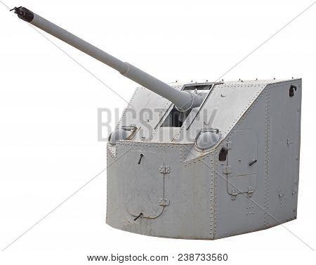 Naval Gun. World War Ii. Isolated On White Background