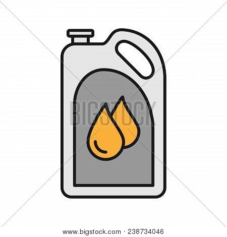Motor Oil Color Icon. Plastic Jerry Can With Liquid Drops. Fuel Container. Isolated Vector Illustrat