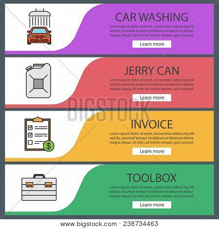 Auto Workshop Web Banner Templates Set. Car Washing, Jerry Can, Invoice, Toolbox. Website Color Menu