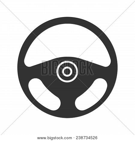 Car Rudder Glyph Icon. Steering Wheel. Silhouette Symbol. Negative Space. Vector Isolated Illustrati