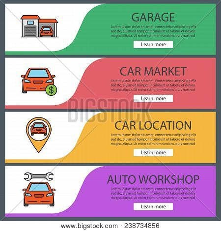 Auto Workshop Web Banner Templates Set. Garage, Car Market, Automobile Location, Repair Service. Web
