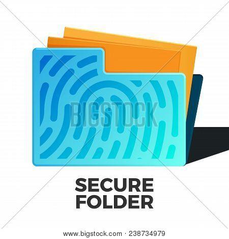 Secure Folder Vector Icon. Flat Style Illustration Of Folder With Fingerprint And Some Docs Inside.