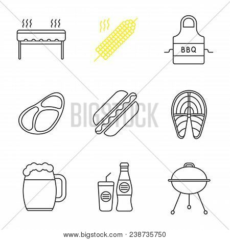 Barbecue Linear Icons Set. Bbq. Grills, Corn On Skewer, Apron, Steak, Hot Dog, Fish, Beer Mug, Soda.