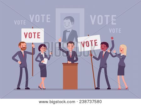 Election Campaign Voting. Politician Or Party Candidate In Excited Speech Persuades To Vote For Him,