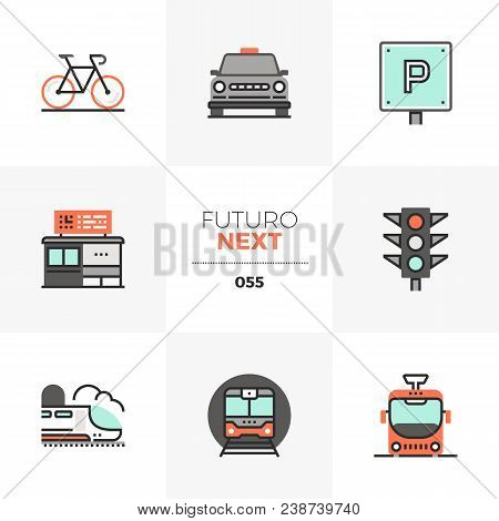 Modern Flat Icons Set Of Various City Transport, Commute Transportation. Unique Color Flat Graphics