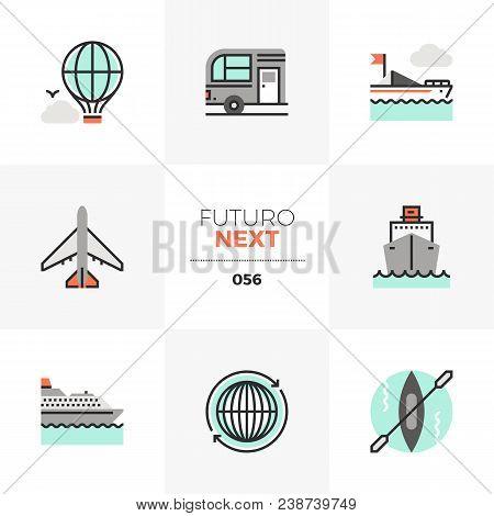 Modern Flat Icons Set Of Transportation Vehicles, Traveling Transport. Unique Color Flat Graphics El
