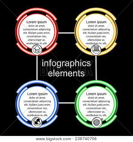 Infographic Process Visualization Template, Abstract Vector With Multicolored Circle Elements, Icons