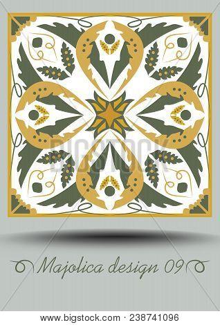 Portuguese azulejo traditional ceramic tile in nostalgic ocher and olive green design with white glaze. Typical ceramic, majolica portuquese pottery product with multicolored geometric ornament. Vector EPS 10 poster