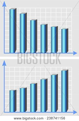 Illustrative Chart, Template With Metallic Blue 3d Columns, And Rising Trend Curve, Infographic Elem