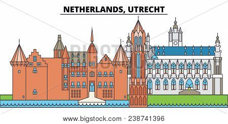 Netherlands, Utrecht. City Skyline, Architecture, Buildings, Streets, Silhouette, Landscape, Panoram