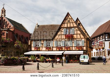 Eguisheim, France - September 10, 2010: A Beautiful Half-timbered House In Eguisheim Village. Eguish
