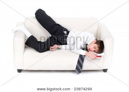 tired teenager sleeping on the sofa on the white background poster