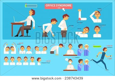 Office Syndrome Infographics, Wrong Sitting In The Workplace, Health Care And Medical Concept Vector