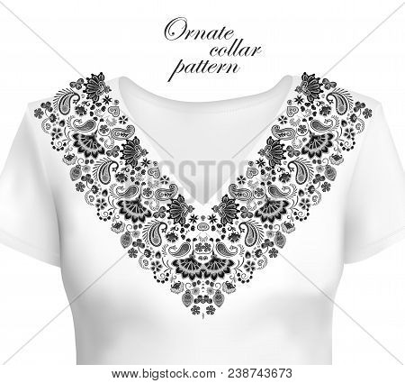 Oriental Ornament With Paisley And Fantasy Flowers. Vector Design For Collar Shirts, Blouses. Vector
