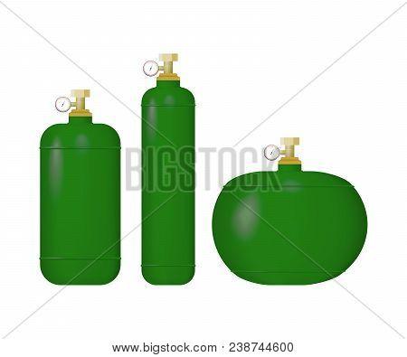 Set Of Green Cylinder With Liquefied Gas. Hydrogen, Phosgene, Chlorine Vector Illustration.