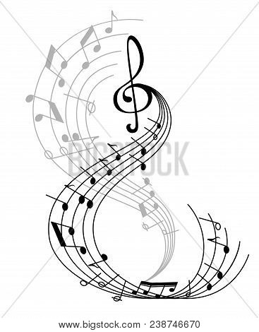 Music Note Poster Of Musical Symbol On Curved Staff With Treble Clef And Key Signatures. Classical M