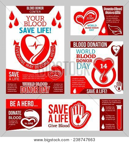 World Blood Donor Day Banner For Blood Donation Campaign Event Template. Red Blood Drop, Heart And H