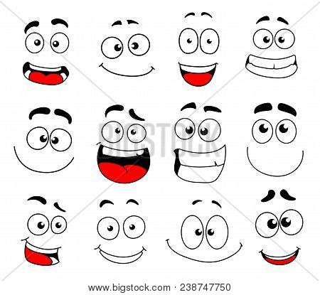 Human Face Emotion Cartoon Icon Set. Emoticon, Smiley And Emoji Character With Happy, Funny And Chee