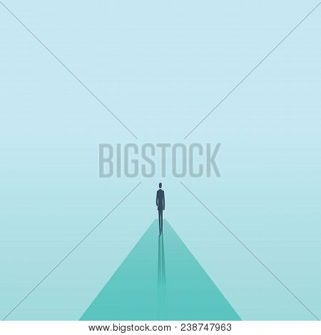 Business Career Vector Concept With Businessman Walking Forward. Symbol Of Career Opportunity, Growt