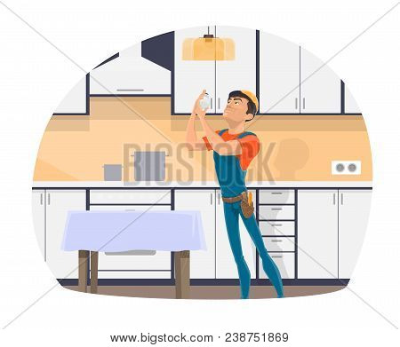 Electrician Profession Cartoon Icon Of Electrical Worker With Tool, Blue Uniform And Hard Hat. Repai