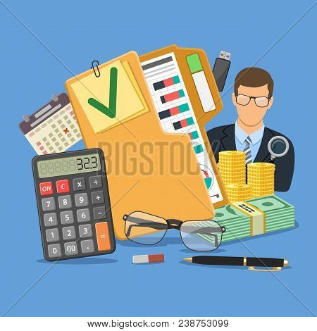Auditing, Tax, Business Accounting Concept. Auditor Holds Magnifying Glass In Hand And Folder With C
