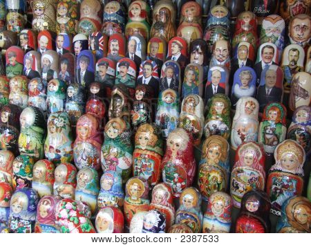 Political And Traditional Russian Dolls At A Market In Moscow, Russia
