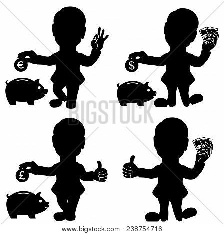 Silhouette Set Of Four Man Situations With Money And Piggy Bank For Deposit Adverting, Conceptual Ca