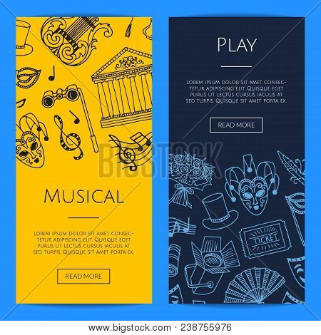 Vector Doodle Theatre Elements Vertical Web Banners Or Posters Concept Illustration